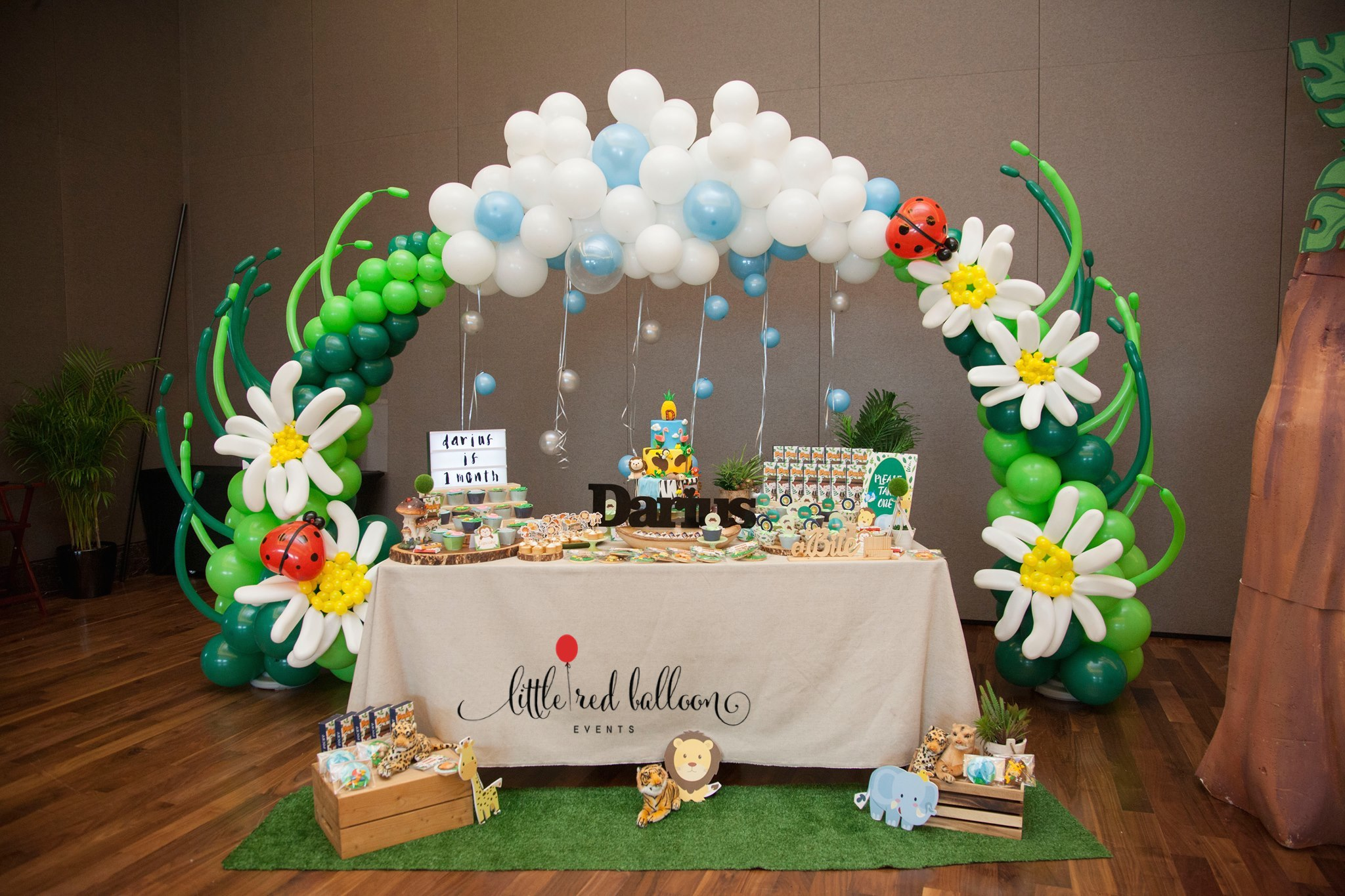 Balloon arch dessert table singapore little red balloon for Baby shower decoration singapore