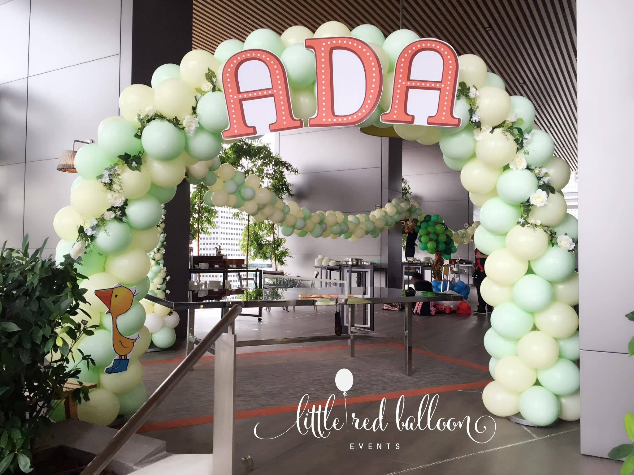 Premium balloon arch in singapore little red balloon for Baby shower decoration singapore