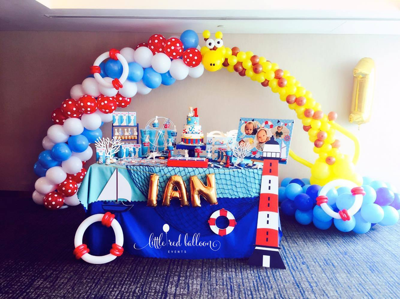 Nautical balloon arch singapore little red balloon singapore for Baby shower decoration singapore