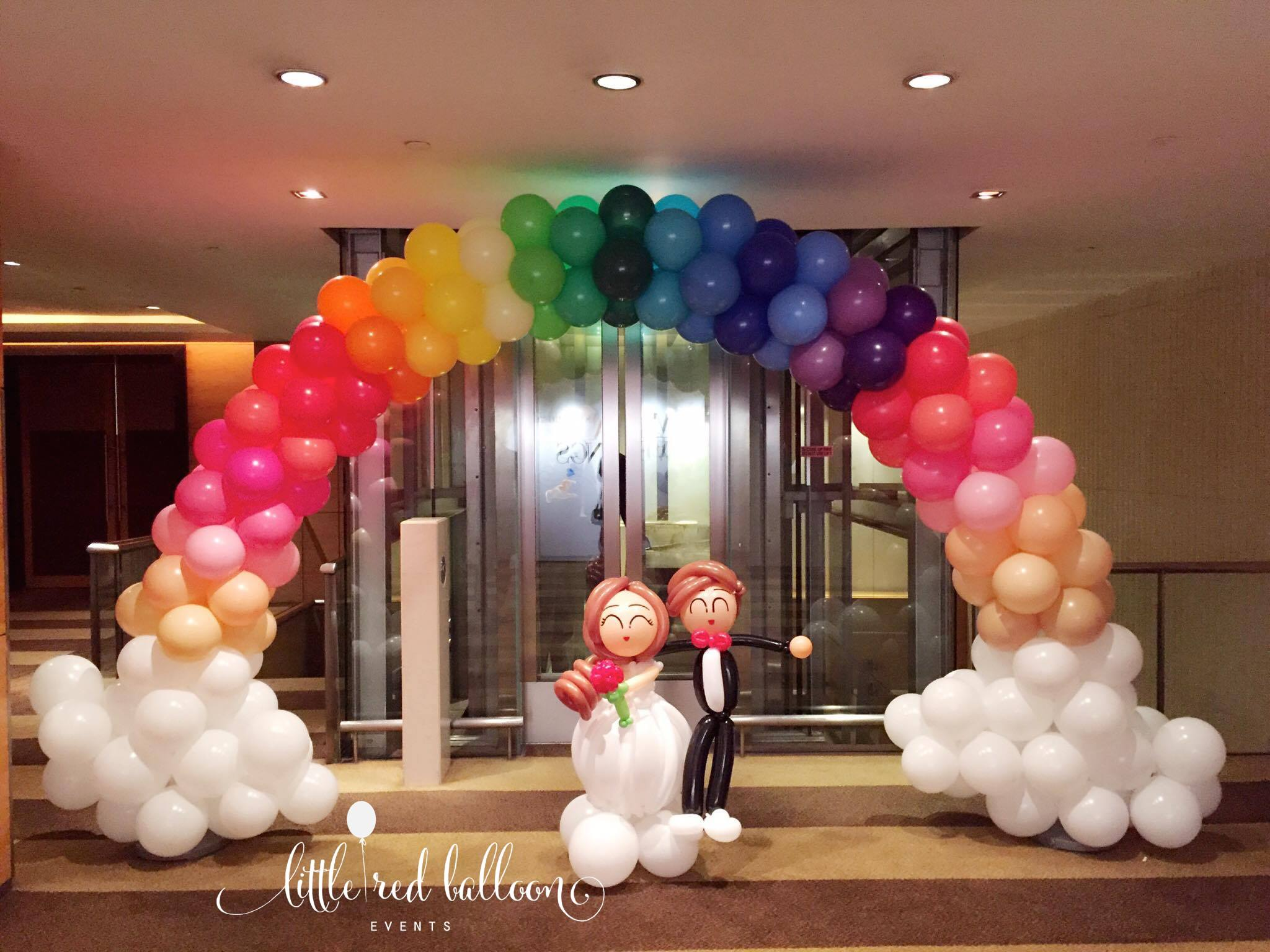 Balloon arch for wedding - Wedding Couples Rainbow Balloon Arch
