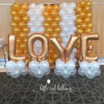wedding gold and white balloon backdrop